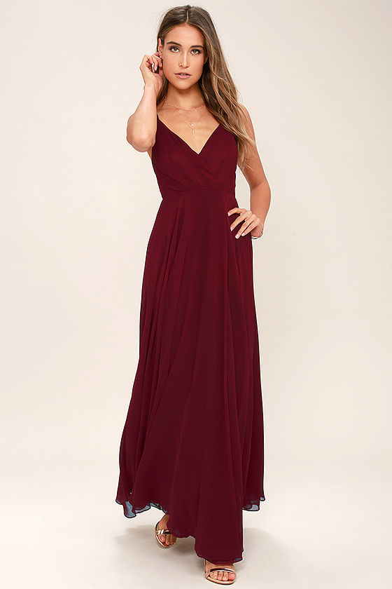 Lovely Wine Red Dress Maxi Dress Gown Bridesmaid