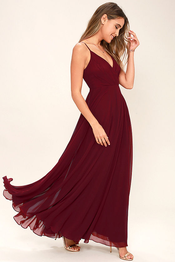729aad6121 Lovely Wine Red Dress - Maxi Dress - Gown - Bridesmaid Dress -  97.00