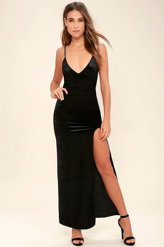 Sexy Black Dress - Velvet Dress - Velvet Maxi Dress - Bodycon Maxi ...