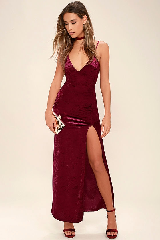 Sexy Burgundy Dress - Velvet Dress - Velvet Maxi Dress - Bodycon ...