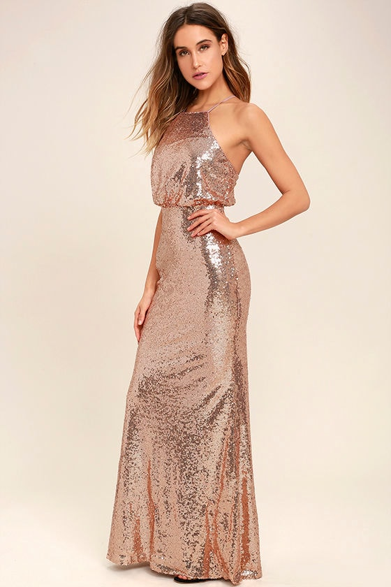 90415bd6812 Lovely Rose Gold Maxi Dress - Sequin Maxi Dress - Sequin Mermaid ...