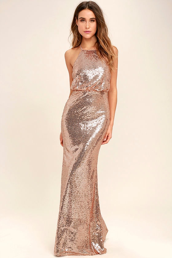 Lovely Rose Gold Maxi Dress - Sequin Maxi Dress - Sequin Mermaid ...