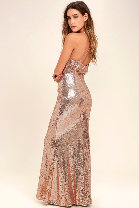 My Muse Rose Gold Sequin Maxi Dress 3