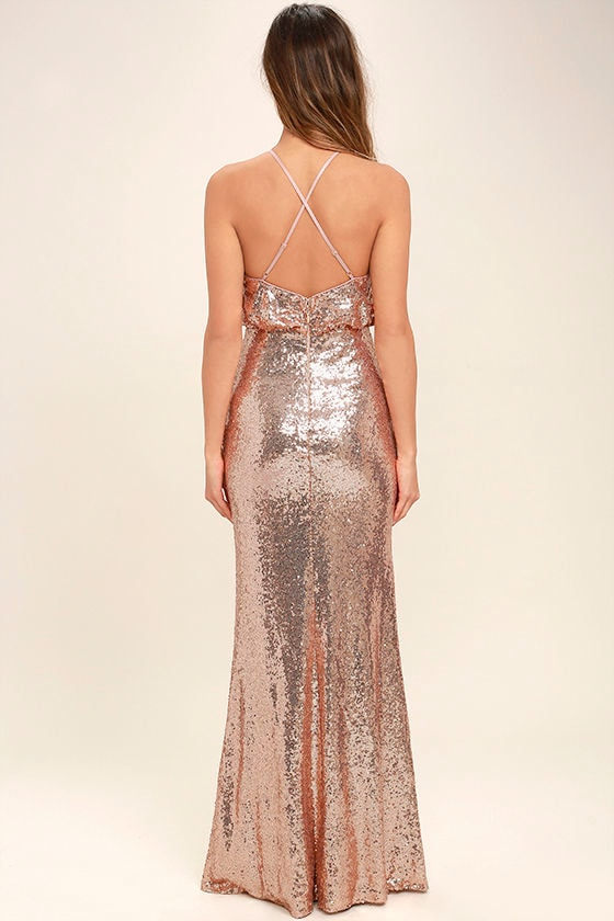 My Muse Rose Gold Sequin Maxi Dress 4