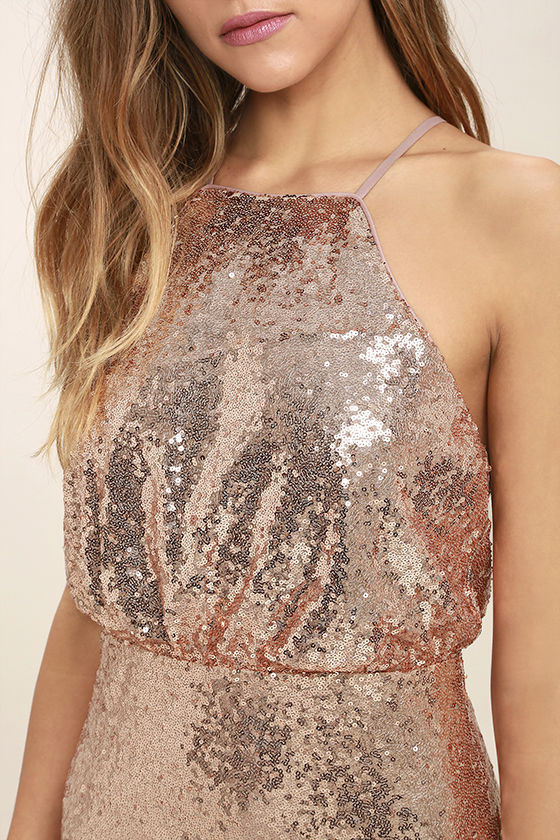 My Muse Rose Gold Sequin Maxi Dress 5