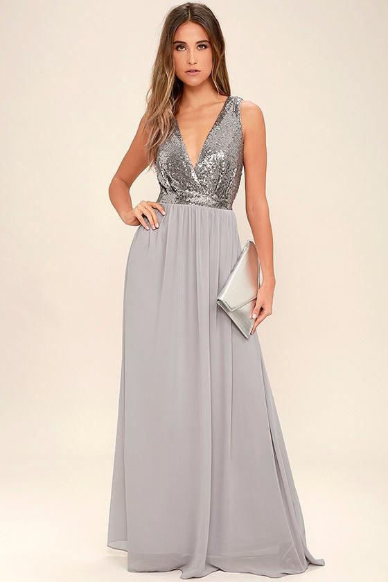 c04a0b27e2 Lovely Pewter Maxi Dress - Sequin Maxi Dress - Plunge Sequin Dress ...