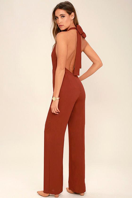 Cool Rust Red Jumpsuit - Halter Jumpsuit - Wide-Leg Jumpsuit - $64.00