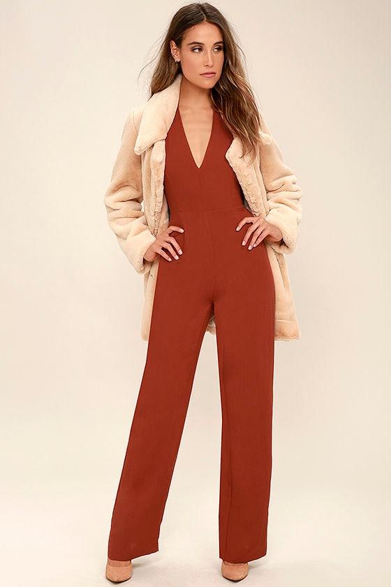 b3228ce15bf Cool Rust Red Jumpsuit - Halter Jumpsuit - Wide-Leg Jumpsuit -  64.00