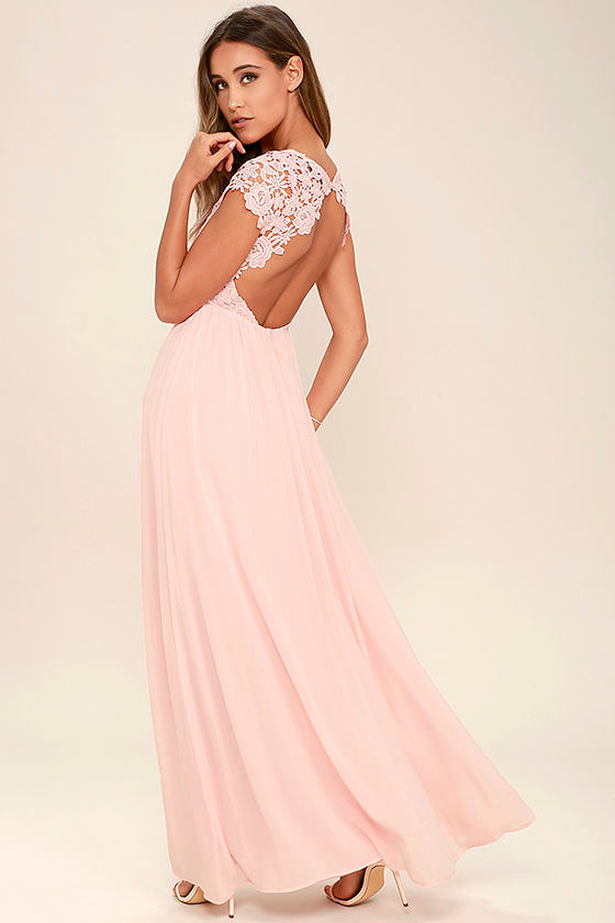 Lovely Blush Pink Dress - Lace Dress - Maxi Dress - $86.00