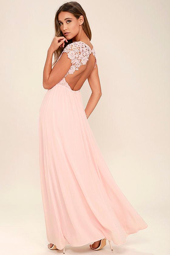 The Greatest Blush Pink Lace Maxi Dress 1