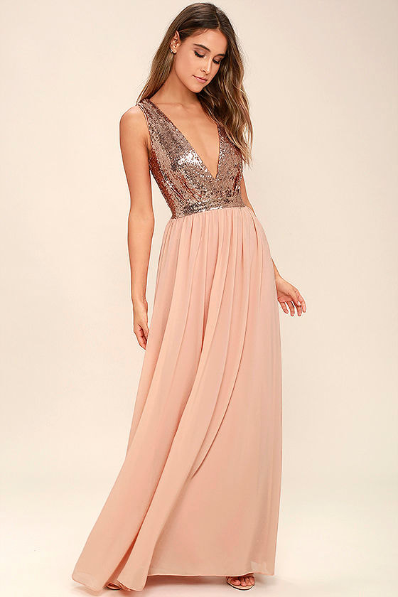 Lovely Rose Gold Maxi Dress - Sequin Maxi Dress - Plunge Sequin ...