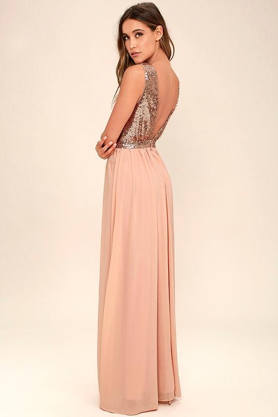 Elegant Encounter Rose Gold Sequin Maxi Dress 3