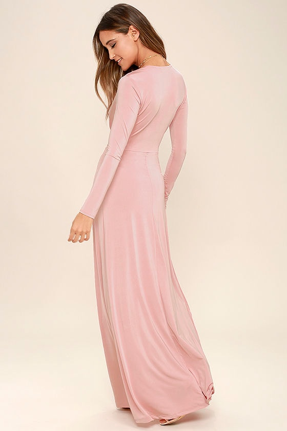 Lovely Blush Pink Dress - Maxi Dress - Long Sleeve Dress - $64.00