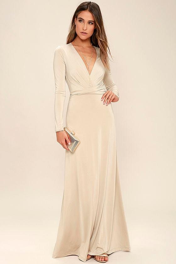 Lovely Beige Dress - Maxi Dress - Long Sleeve Dress - $64.00