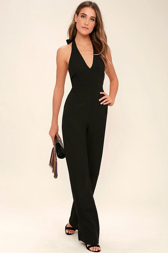 Cool Black Jumpsuit - Halter Jumpsuit - Wide-Leg Jumpsuit - $64.00