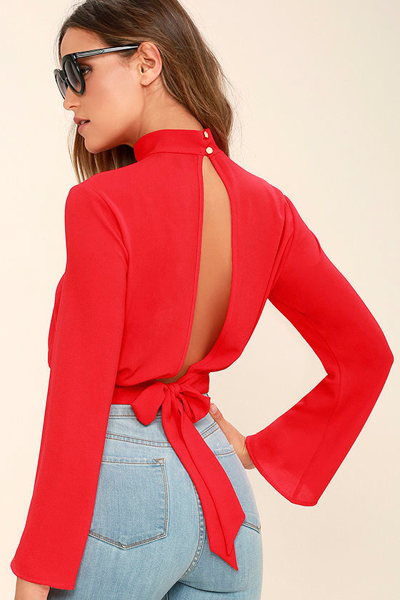 Chic Red Top - Bell Sleeve Top - Crop Top - Blouse - $32.00
