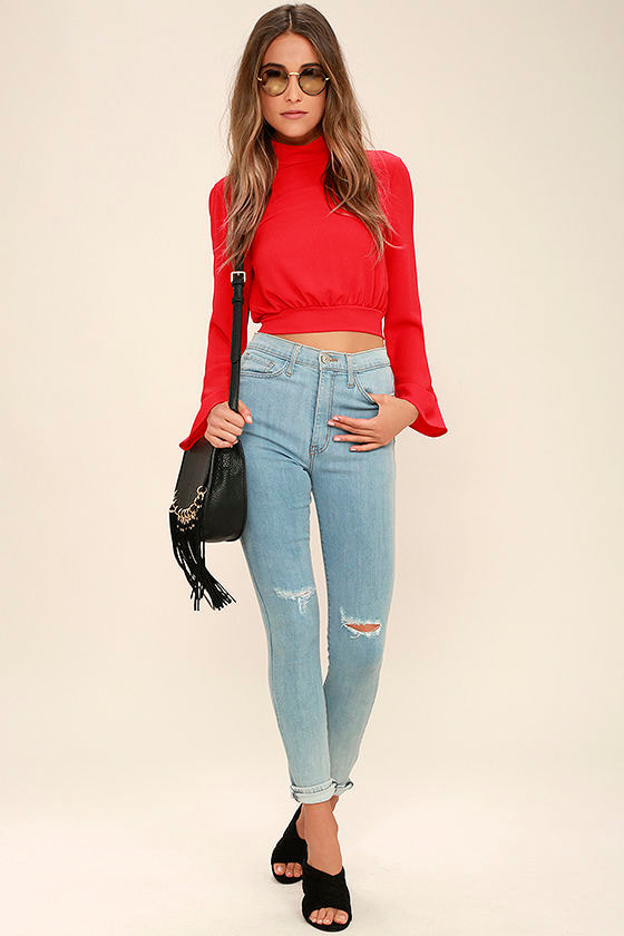 8c2315ee9f9a Chic Red Top - Bell Sleeve Top - Crop Top - Blouse -  32.00