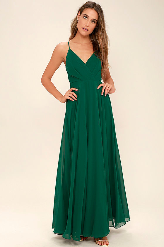 Lovely Dark Green Dress - Maxi Dress - Gown - Bridesmaid Dress ...