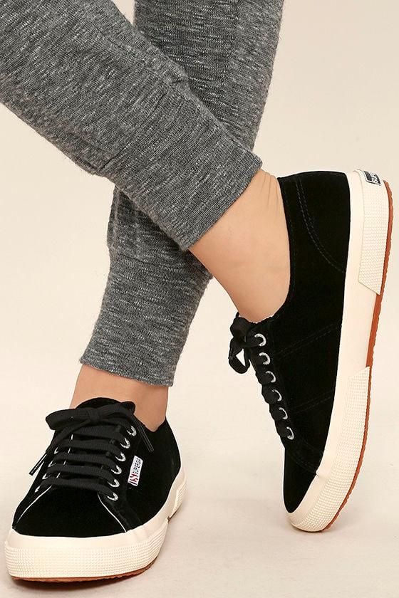 Superga 2750 VELVTW Black Velvet Sneakers 1