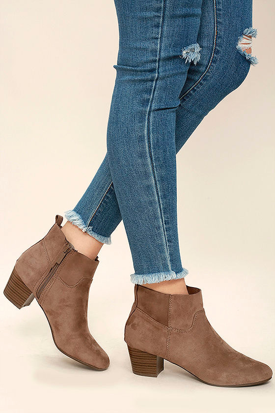River Taupe Suede Ankle Booties 1