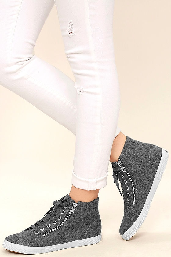 Superga 2224 POLYWOOLW Grey High-Top Sneakers 1