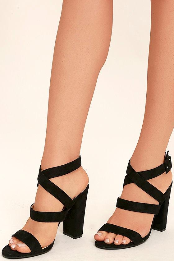 28daac47f77 Cute Black Heels - Ankle Strap Heels - Vegan Suede Heels -  33.00