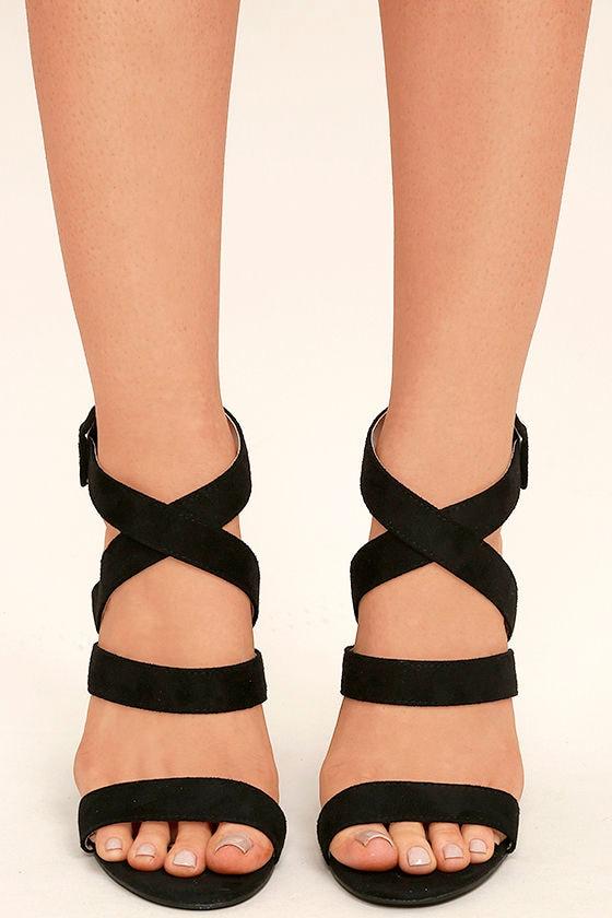 d36a55e1642d Cute Black Heels - Ankle Strap Heels - Vegan Suede Heels -  33.00