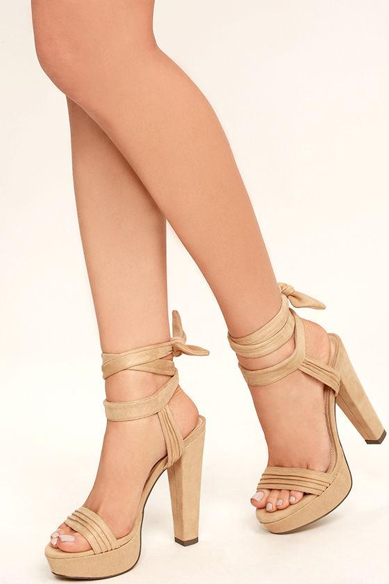 Sexy Nude Suede Heels - Platform Lace-Up Heels - Vegan Suede Heels ...