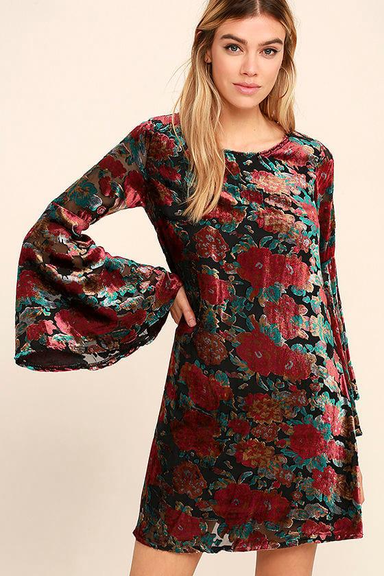 bbca35cd0edd Lovely Black Floral Print Dress - Velvet Dress - Long Sleeve Dress - $95.00