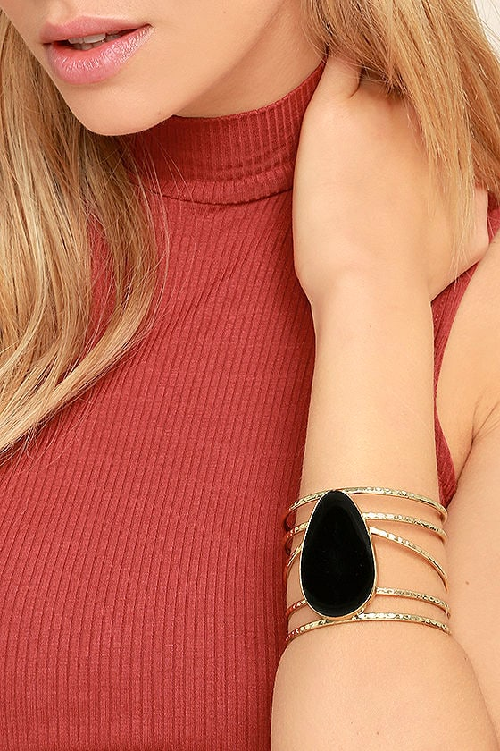 Wandering Star Black and Gold Cuff Bracelet 1