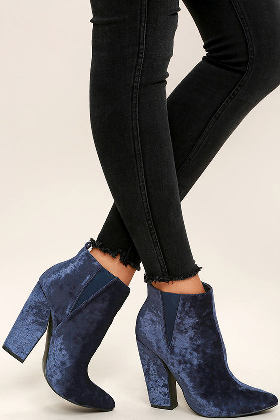 Chic Navy Blue Boots - Crushed Velvet Ankle Booties - High Heel ...