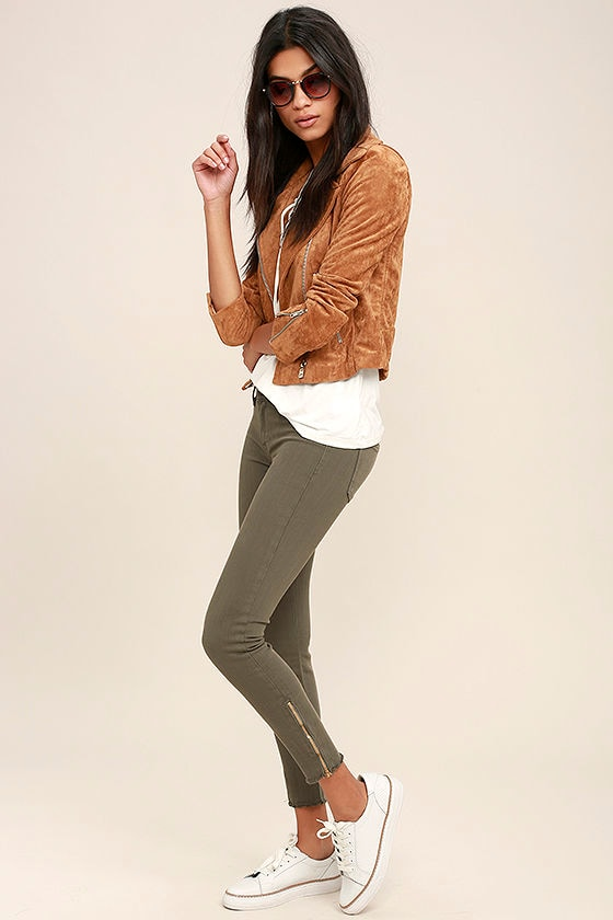 6fb5ca5613 Cool Olive Green Jeans - Skinny Jeans - Ankle Jeans -  78.00