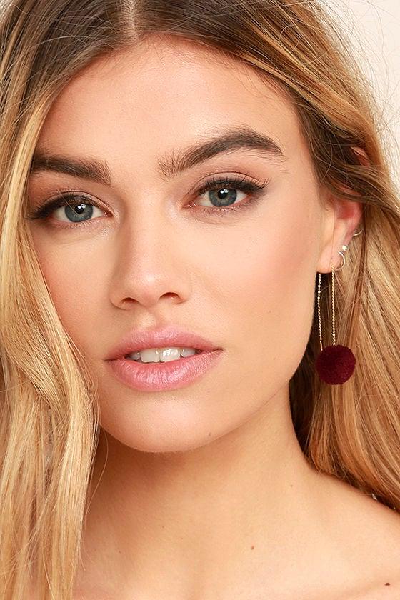 Beautiful Stranger Gold and Burgundy Pompom Threader Earrings 1