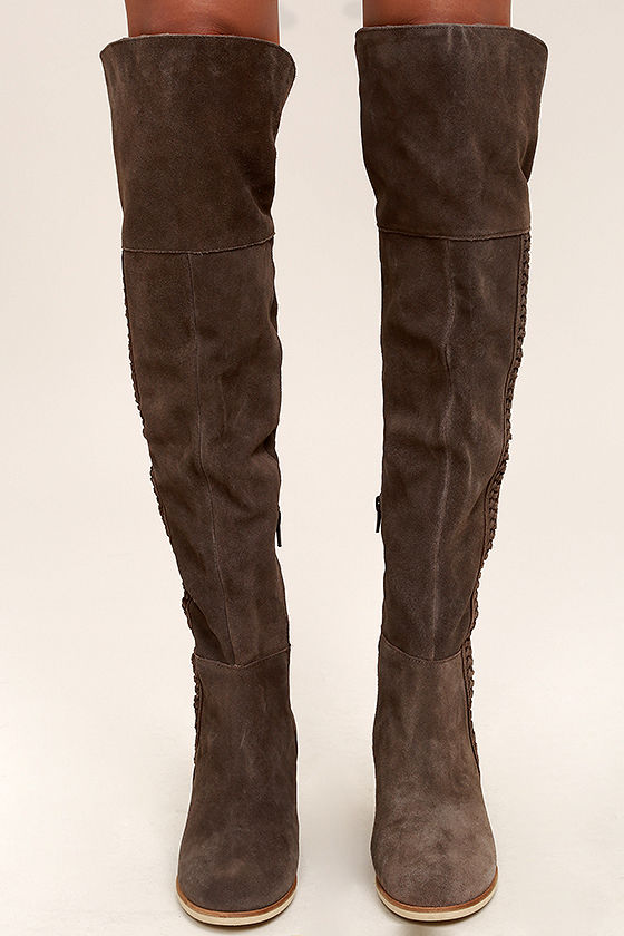 bc4736e94df Coconuts Muse Choco Boots - Suede Leather Boots - Over the Knee Boots
