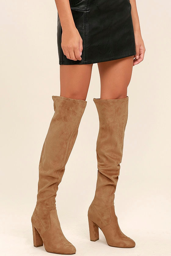6d29615fc34 Steve Madden Emotions Camel Suede Over the Knee Boots