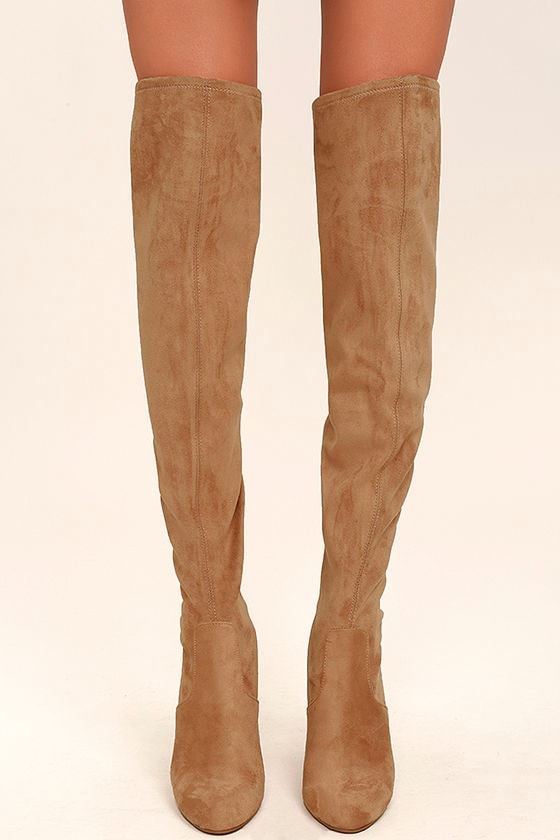 0c6b195f33b Steve Madden Emotions Boots - Camel Over the Knee Boots - Suede OTK Boots -   99.00
