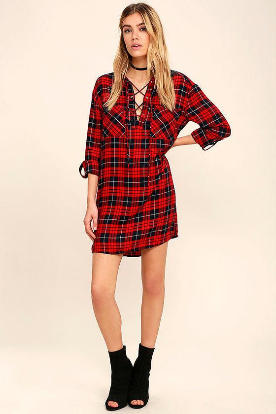 8fdeb3745b Cool Red Plaid Dress - Shirt Dress - Lace-Up Dress -  46.00