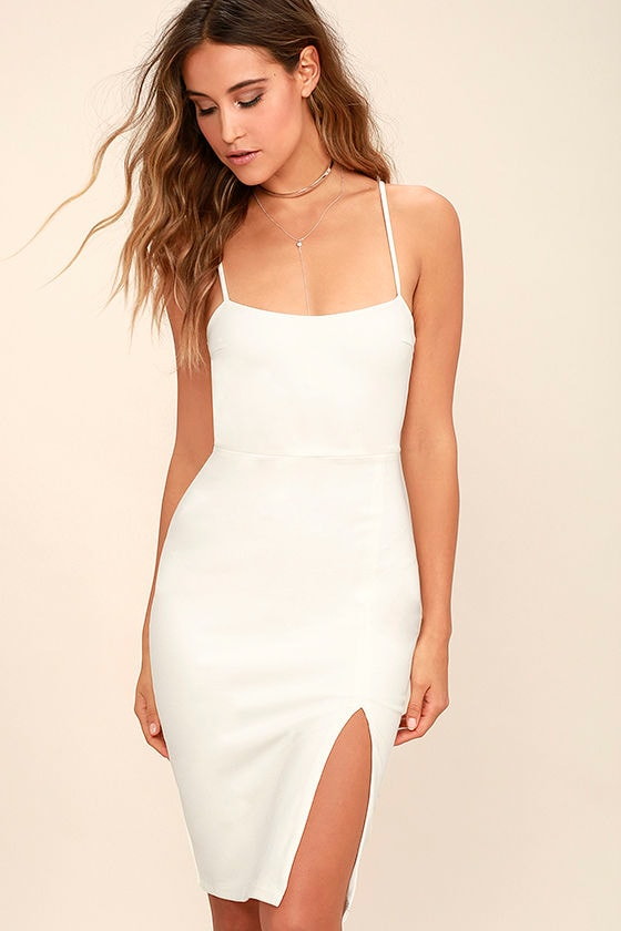 Classic White Dress - Bodycon Dress - Party Dress - $54.00