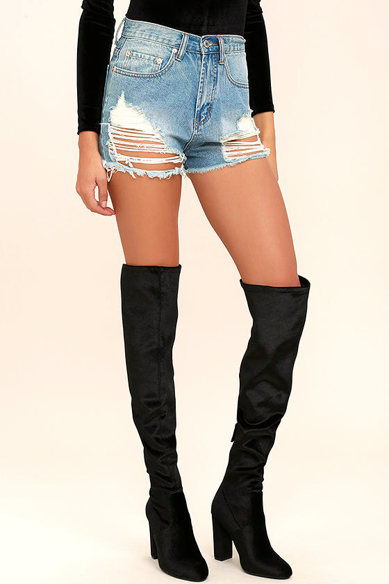 Steve Madden Emotionv Black Velvet Over the Knee Boots 1