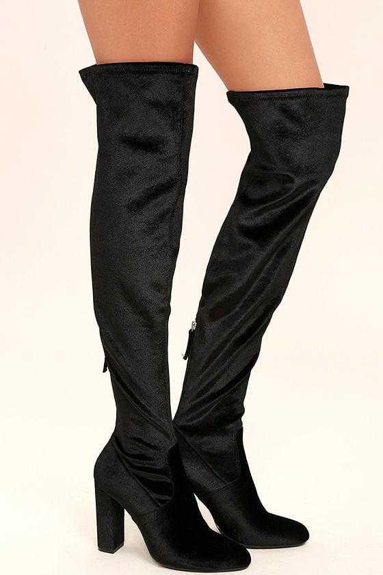 Steve Madden Emotionv Black Velvet Over the Knee Boots 3