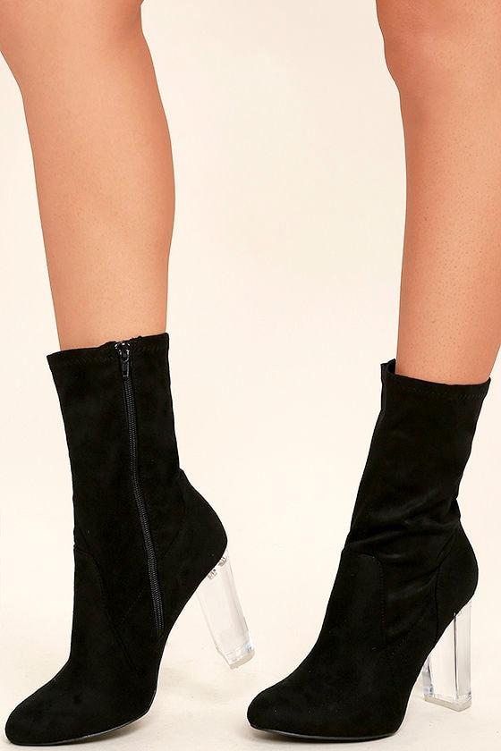 Krystal Black Suede Lucite Mid-Calf Boots 1