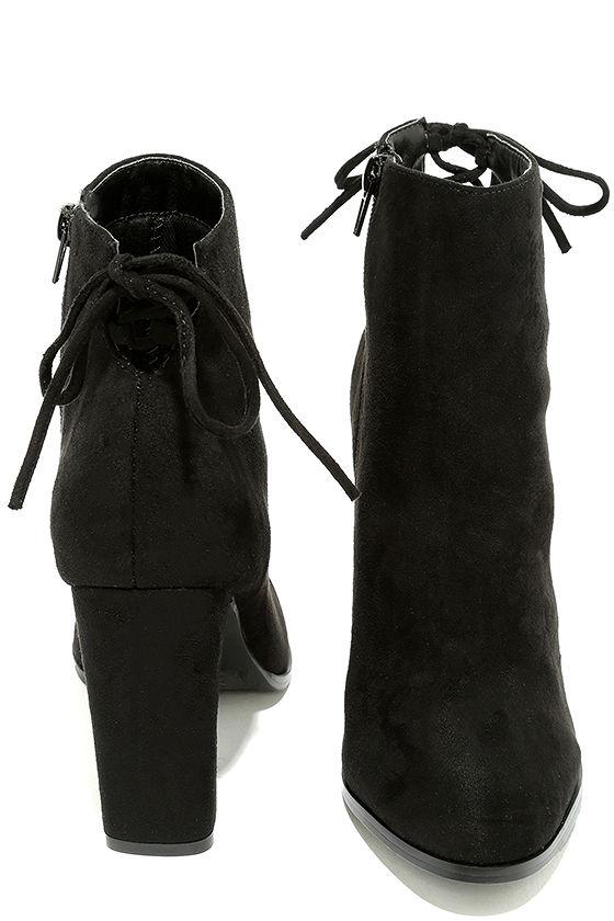 Bellissima Black Suede High Heel Ankle Booties 3