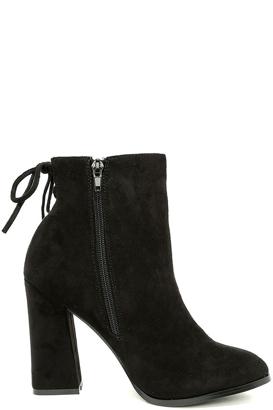 Bellissima Black Suede High Heel Ankle Booties 4