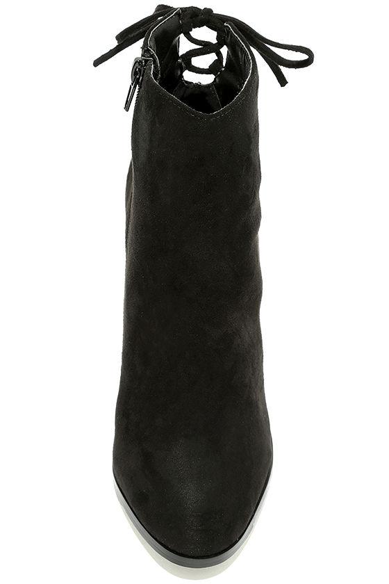 Bellissima Black Suede High Heel Ankle Booties 5