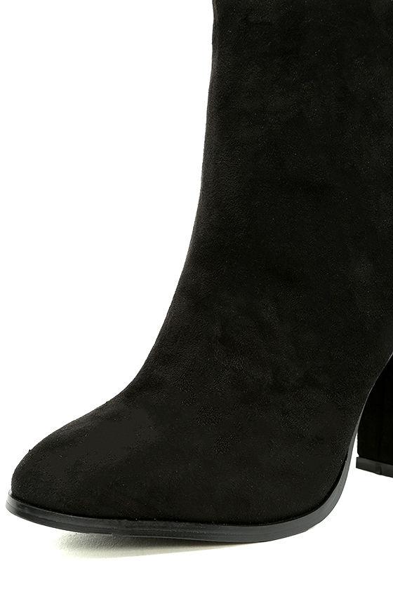 Bellissima Black Suede High Heel Ankle Booties 6
