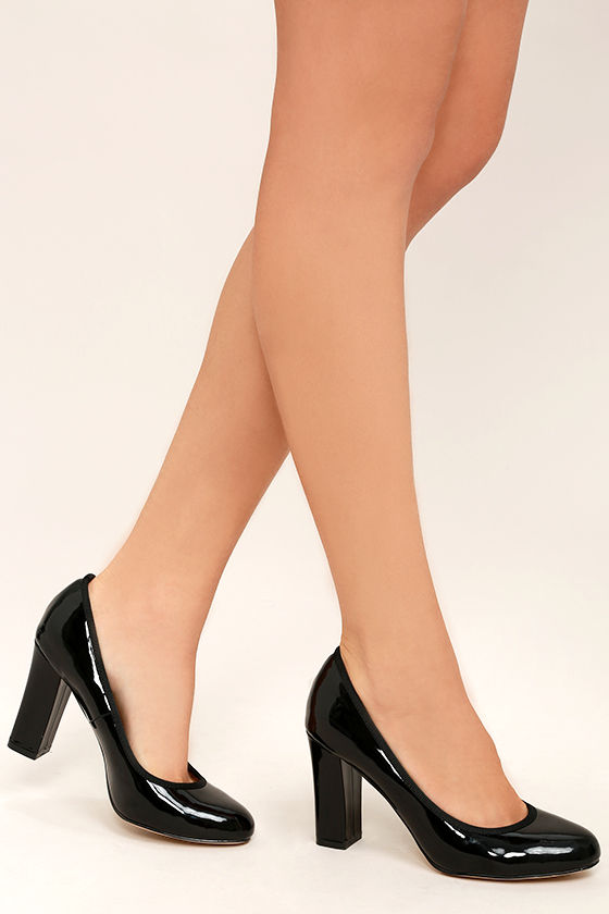 8639e79800 Cute Black Heels - Patent Vegan Leather Heels - Block Heels - $33.00