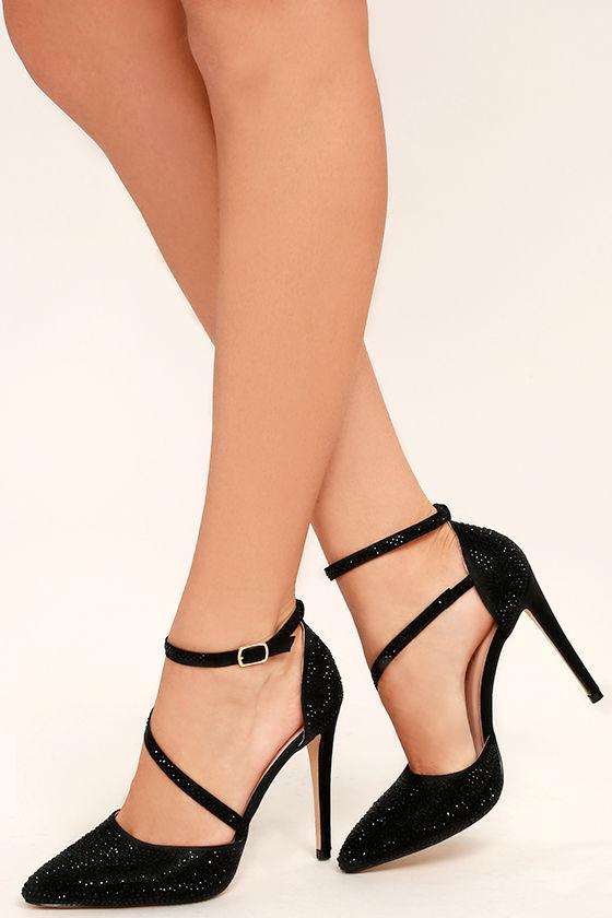 Stunning Black Rhinestone Heels - Black Ankle Strap Heels ...