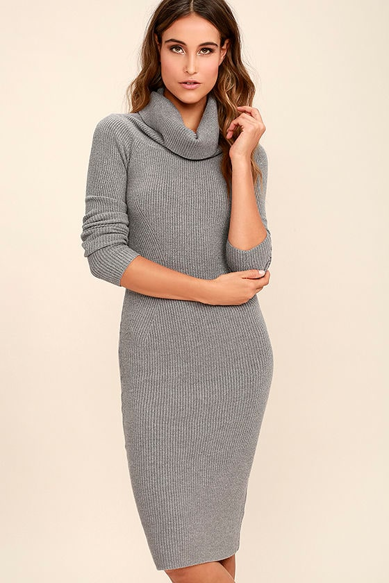 Cute Heather Grey Dress - Long Sleeve Dress - Sweater Dress - Cowl ...