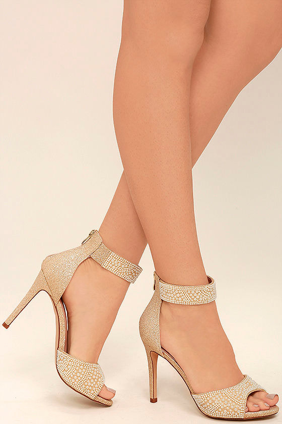 cec2d7f3b47 Lovely Gold Heels - Gold and Pearl Heels - Metallic Heels - Ankle Strap  Heels -  57.00
