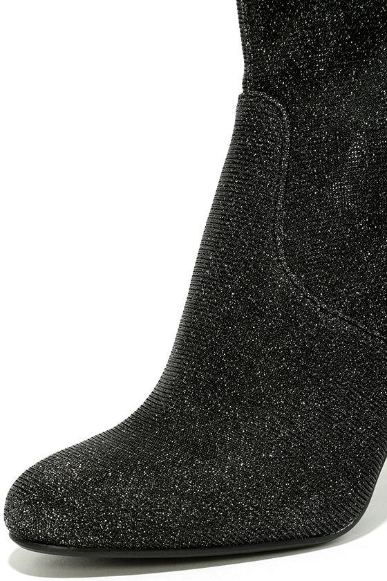 Steve Madden Edit Metallic Knit High Heel Mid-Calf Boots 6